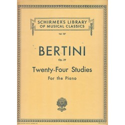 Schirmer's Bertini Op29 Twenty Four Studies For The Piano